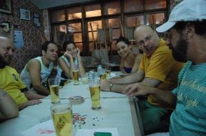 Luiz Antonio Simas, Marcelo Moutinho, Flávia, Elaine, Alberto Mussa e João Bosco, Nova Capela, Lapa, Rio de Janeiro, 16 de janeiro de 2008