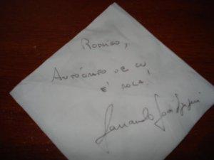 autógrafo de Fernando José Szegeri para Rodrigo Medina, São Paulo, SP, 25 de agosto de 2008