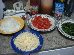 a praça armada para o preparo do risotto de camarão