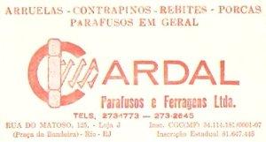 cartão da casa CARDAL, na rua do Matoso, na Tijuca