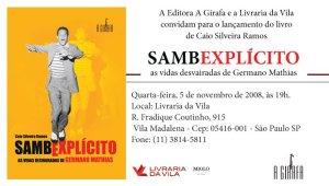 convite para o lançamento do livro SAMBEXPLÍCITO, de Caio Silveira Ramos