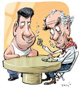 caricatura de Eduardo Goldenberg com Leonel Brizola, por Dalcio Machado