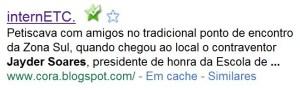prova de que Cora Rónai publicou, e retirou, notícia envolvendo Jayder Soares
