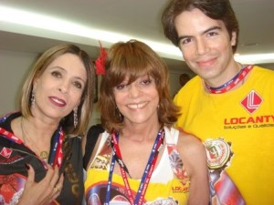 Liége Monteiro e Gloria Perez com o marido de Liége Monteiro no camarote de Jayder Soares, Carnaval de 2010