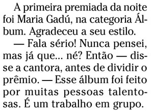 frase de Maria Gadú durante a entrega do prêmio MULTISHOW 2010